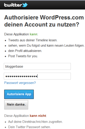 Twitter authorisieren